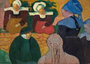 Emile Bernard Breton Women at a Wall oil