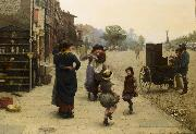 Frederick james shields An impromptu dance a scene on the Chelsea Embankment oil painting artist