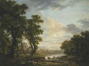 George Barret An extensive wooded river landscape with shepherds recicling in the foreground and ruins beyond oil painting artist