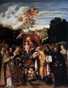 Giovanni Cariani Virgin Enthroned with Angels and Saints oil painting artist