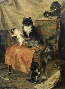 Henrietta Ronner-Knip Kittens at play oil painting