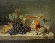 Johann Wilhelm Preyer nuts and a glass on a marble ledge oil