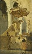Johannes Bosboom The Pulpit of the Church in Hoorn oil