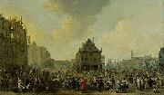 Johannes Lingelbach Dam Square with the New Town Hall under Construction oil painting reproduction