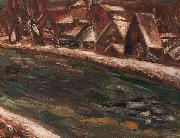 Leo Gestel A village along a river oil painting artist