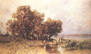 Meszoly, Geza Fishermens Hut at the Lake Balaton oil painting artist