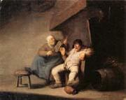Adriaen van ostade A Peasant Couple in an  interior oil painting artist