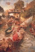 Edward john Gregory,RA.RI Boulter's Lock-Sunday Afternoon oil painting picture wholesale