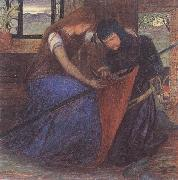 Elizabeth Siddal A Lady Affixing a Pennant to a Knight's Spear oil