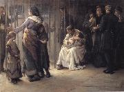 Frank Holl Newgate-Committed for trial oil painting artist