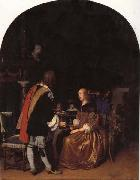 Frans van mieris the elder Refresbment with Oysters oil