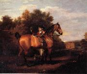 Henry Walton A Gentleman,Said to Be mr Richard Bendyshe with his Favorite Hunter in a Landscape oil painting artist