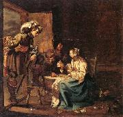 Jacob Duck Interior with soldiers and a woman playing cards,an officer watching from a doorway oil painting picture wholesale