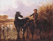 John Frederick Herring Watering The Horses and Farmyard Companions:a Pair of Paintings oil painting picture wholesale