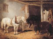 John Frederick Herring Three Horses in A stable,Feeding From a Manger oil painting picture wholesale