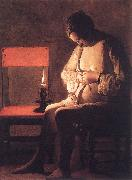 LA TOUR, Georges de Woman Catching Fleas oil painting artist
