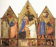 Matteo Di Pacino St.Bernard's Vistonof the Virgin with SS.Benedict,john the Evange-list.Quintinus,and Galgno,The Blessed Redeemer and the Annunciation Stories of the S oil painting artist