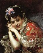Raimundo de Madrazo y Garreta The Model Aline Masson with a White Mantilla oil painting artist