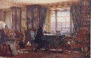 William Gershom Collingwood John Ruskin in his Study at Brantwood Cumbria oil painting artist