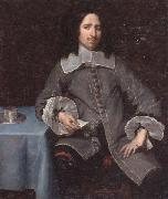 unknow artist Portrait of a gentleman,three-quarter length,standing beside a table oil painting picture wholesale