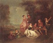 unknow artist An elegant company dancing and resting in a woodland clearing oil painting picture wholesale