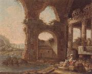 unknow artist An architectural capriccio with washerwomen by a river oil painting picture wholesale