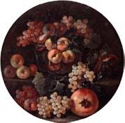 unknow artist A still life of peaches and plums in a glass bowl,grapes,a melon and a pomegranate oil painting picture wholesale