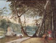 unknow artist A wooded landscape with a beggar kneeling before a cardinal oil painting picture wholesale