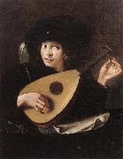 unknow artist A Young man tuning a lute oil painting picture wholesale