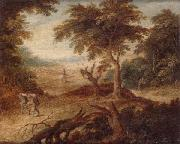 unknow artist A wooded landscape with travellers and a horseman on a track oil painting picture wholesale