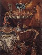 unknow artist Still life of a wine glass and bottle in a parcel gilt tazza together with a glass decanter on a pewter dish upon a draped tabletop oil painting picture wholesale