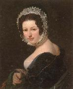 unknow artist Portrait of a young lady,half-length,wearing a black dress,with a green mantle,and a lace bonnet oil painting picture wholesale