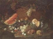 unknow artist Still life of a watermelon,red and white grapes,figs,cherries,mushrooms,a melon,and a basket with vine-leaves,upon a ledge oil painting picture wholesale