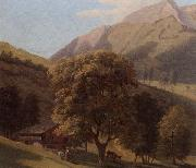 unknow artist A mountainous landscape with a maid before a chalet in a valley oil painting picture wholesale