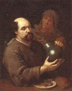 unknow artist A man seated at a table holding a flagon,a servant offering him a glass of wine oil painting picture wholesale