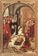 BERRUGUETE, Pedro Scenes from the Life of Saint Dominic:The Burning of the Books oil