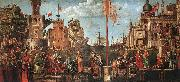 CARPACCIO, Vittore Meeting of the Betrothed Couple and the Departure of the Pilgrims oil painting picture wholesale