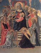 Fra Filippo Lippi Madonna and Child Enthroned with Angels,a Carmelite and other Saints oil painting picture wholesale