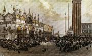 Luigi Querena The People of Venice Raise the Tricolor in Saint Mark's Square oil painting artist