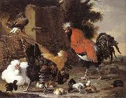 Melchior de Hondecoeter A Cock, Hens and Chicks oil painting picture wholesale