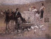 Nicolae Grigorescu Girls and Young Men by the Well oil painting picture wholesale