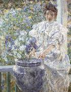 Robert Reid Woman with a Vase of Irises oil painting artist