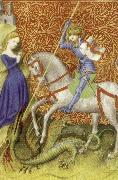 unknow artist Saint George Slaying the Dragon,from Breviary of john the Fearless oil painting picture wholesale