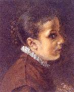 Adolph von Menzel Head of a Girl oil painting picture wholesale