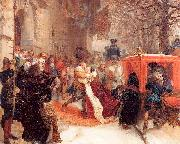 Adolph von Menzel Gustav Adolph Greets his Wife outside Hanau Castle in January 1632 oil painting picture wholesale