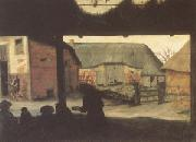 Cornelis van Dalem Farmyard with a Beggar (mk05) oil