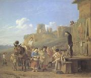 Karel Dujardin A Party of Charlatans in an Italian Landscape (mk05) oil painting artist