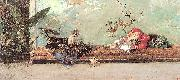 Marsal, Mariano Fortuny y The Artist's Children in the Japanese Salon oil painting artist
