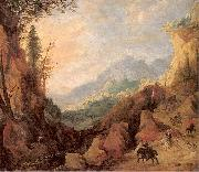 Momper II, Joos de Mountainous Landscape with a Bridge and Four Horsemen oil painting artist