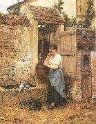 Mosler, Henry Peasant Girl and Doves oil painting picture wholesale